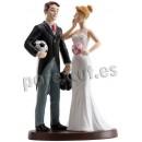 Bride and groom wedding football cake